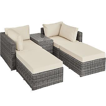 tectake Polyrattan loungesæt med aluminiumstel San Domino - grå