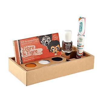 "Wild Life Box Kit 3 ""Zebra & Tiger"", bronze varnish and orange hair mascara 1 unit"