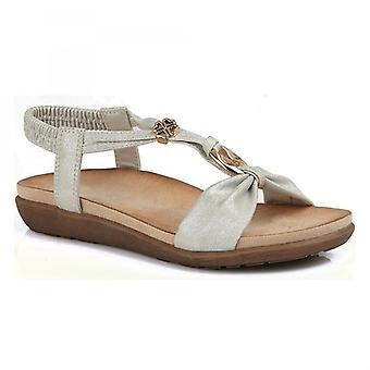 Cipriata Zana señoras tobillo correa oro sandalias adornadas de plata ligera