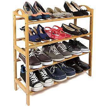 Gerui 4 Tier Natural Bamboo Wooden Shoe Rack Storage Organiser
