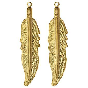 Vintaj Vogue Hängen, Native Feather 45x10.5mm, 2 Pieces, Raw Brass