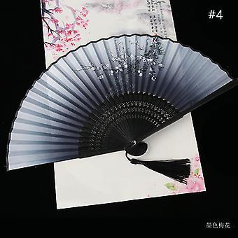 Vintage Style Silk Folding Fan Chinese Pattern Art Craft Gift Home Decoration Ornaments Dance Hand Fan