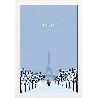 JUNIQE Print - Paris - Vintage Travel Plakat i blåt
