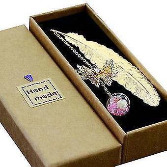 Vaaleanpunainen metallisulka kirjanmerkki 3D perhonen ja lasiset läjät kuiva kukka riipus x521
