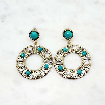 Boucles d?oreilles Niiki Paris - NCE089 - Blanc/Turquoise - Collection Colors