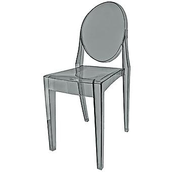 Fusion Living Smoke Grey Ghost Style Plastic Victoria Dining Chair - Set Of 6