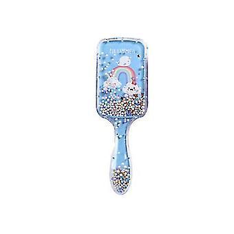 2Pcs الحوت الأزرق الكرتون وسادة هوائية تدليك مشط سريع والترتر تصفيف الشعر فلاش وسادة الهواء مشط شفاف رغوة الكرة قوس قزح المهر az11600