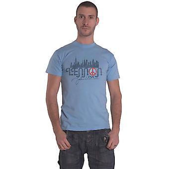 John Lennon T Shirt NYC Skyline Logo new Official Mens Light Blue