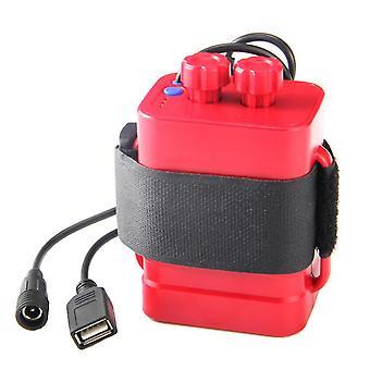 Lithium-Batterieladegerät mit 6 Steckplätzen, wasserdichte Batteriebox von 18650, USB-5V-Ausgangsakku (Rot)
