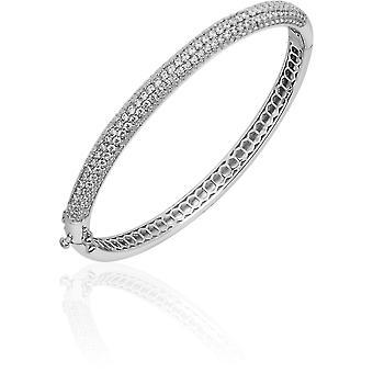 Gisser Jewels - Armband - Bangle Half Sphere set med Zirconia - 6mm Wide - Storlek 56 - Gerhodineerd Zilver 925