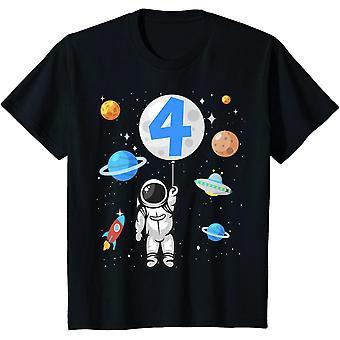 Kinder  4. Geburtstag Weltraum Jungen 4 Jahre Raumschiff T-Shirt