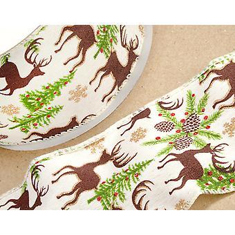 10m festlig Stag 60 mm kablet Edge Christmas Ribbon for gavepapir håndverk