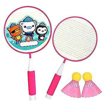Badminton Schläger Spiel Kleines Badminton Spielen Training Schläger mit Ball (RosePink)