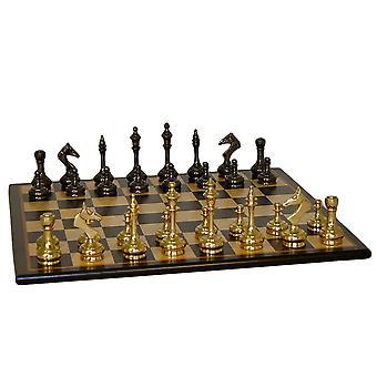 Brass Slim Men Chess Set With Black Birdseye Maple Board
