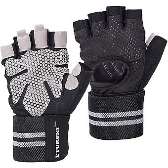 Ventilated Workout Gloves With Wrist Wrap Support For Men & Women Gloves For Gym Exercise Fitness,lifting,pull Ups,training