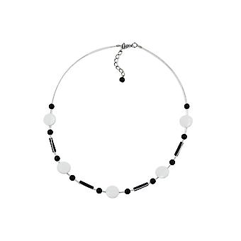 Necklace Beads White-black 45357 45357 45357