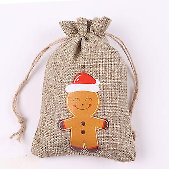 عيد الميلاد الكتان هدية حقيبة عيد الميلاد هدية الديكور حقيبة قماش صغيرة حلوى الشوكولاته حقيبة التعبئة والتغليف
