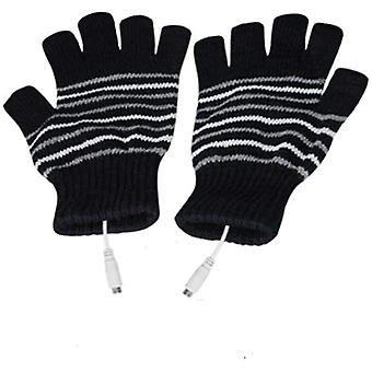 Usb Powered Gloves Heating Knitting Wool Cute Gloves Fingerless Warm Gloves