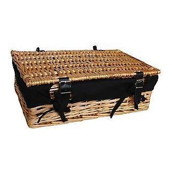 Empty Wicker Rectangular Gift Black Lined Basket