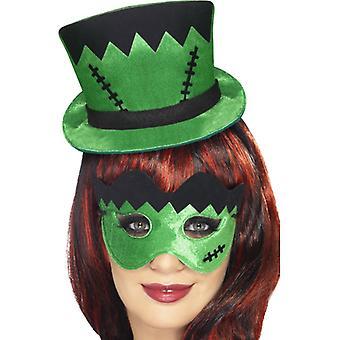 Frankie's mini hattu headband ja eye peite-set vihreä