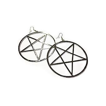 Attitude Clothing Pentagram Hoop Earrings