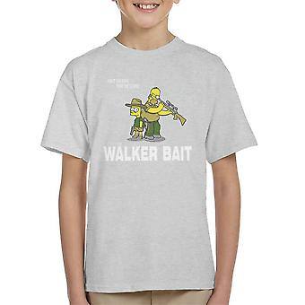 The Walker Bait Walking Dead Rick And Carl Grimes Homer And Bart Simpson Kid's T-Shirt