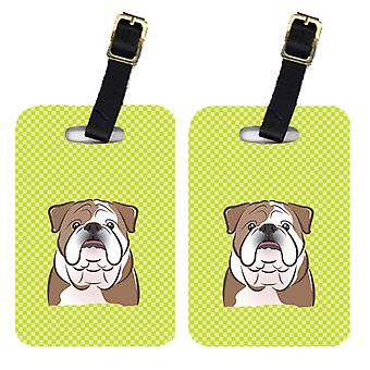 Par de damero cal Bulldog Inglés verde etiquetas de equipaje