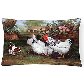 """""""Hühner, Hühner und Welpen Stoff dekorative Kissen """""""
