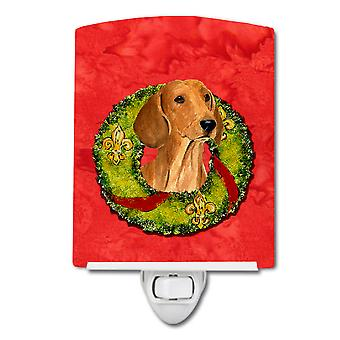Carolines Treasures  SS4177CNL Dachshund Cristmas Wreath Ceramic Night Light