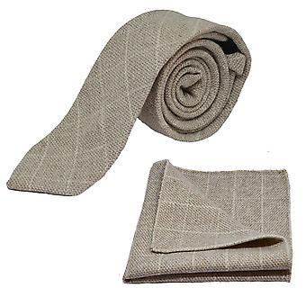 Beżowy Birdseye wyboru krawat & placu kieszeni zestaw