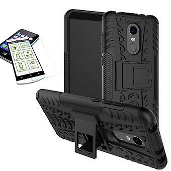 Hybrid case 2 stuk zwart voor Xiaomi Redmi 5 + tas-gevaldekking van gehard glas