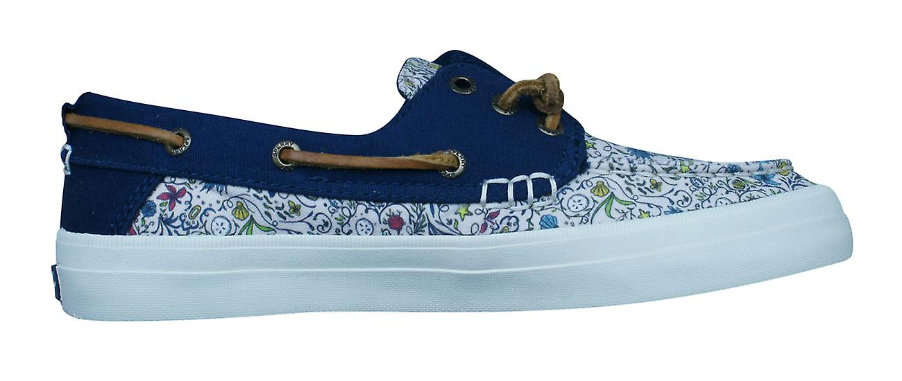 Sperry Crest Resort Mermaid Natural Womens Deck / Canvas Boat Shoes - White and Blue
