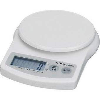Mishandle MAULalpha 2000 G brev skalaer vektklasser 2 kg lesbarhet 1 g batteridrevet hvit