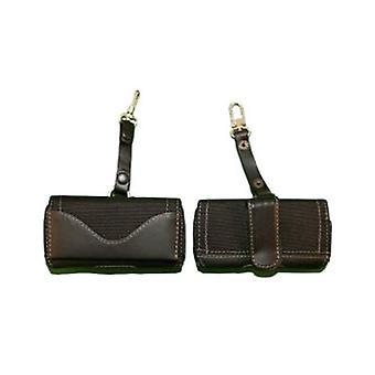 WAU Universal Titan Leather & Nylon Horizontal Pouch for Motorola V3m - Black