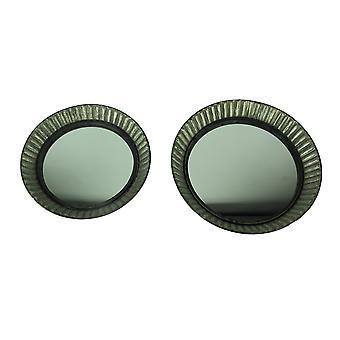 Metall Pie Plate stil Ruffled rammesettet rustikke vegg speil