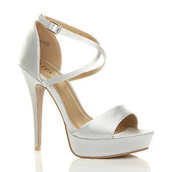Ajvani Damen high heels überqueren Sie die Riemchen Braut Hochzeit Brautjungfer Abend Plateau Sandalen Peep Toe Schuhe