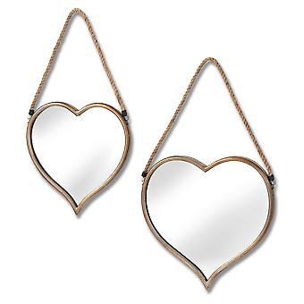 Hill Interiors Heart Mirrors With Rope Detail (Set Of 2)