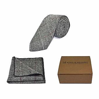 Luksusowy jodełkę cyny krawat szary & placu kieszeni zestaw - Tweed, wygląd Plaid kraju | Boxed