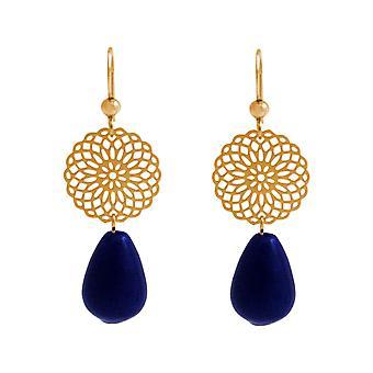 Boucles d'oreilles GEMSHINE Pour Femmes Mandalas Lapis Lazuli Drops. Argent, plaqué or, rose