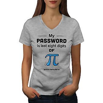 Funy Math Women GreyV-Neck T-shirt | Wellcoda