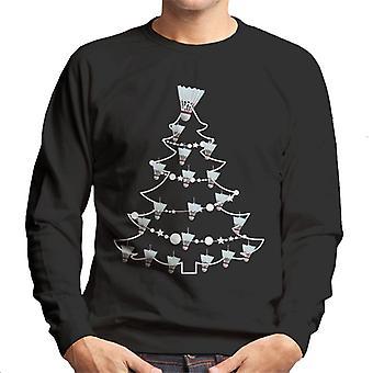 Badminton shuttle kerstboom kerstballen mannen Sweatshirt