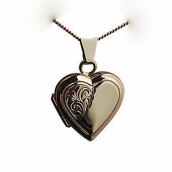 9ct Rose Gold 17x17mm halbe handgravierte flaches Medaillon in Herzform mit einer Kandare Kette 24 Zoll