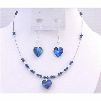Burmuda Crystals Jewelry Set Swarovski Heart Pendant Earring Gift Set