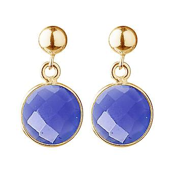 Gemshine earrings with blue jade gemstones in 925 silver, gold plated or rose