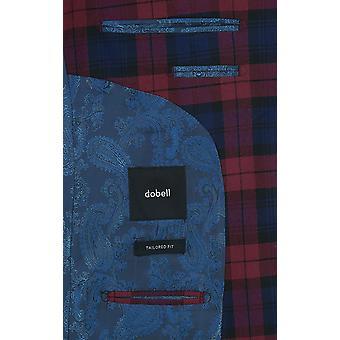 Dobell vinröd Tartan kostym Herrjacka skräddarsydd passform