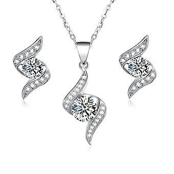 925 Sterling sølv bane flamme Design ren Elegance smykker sæt