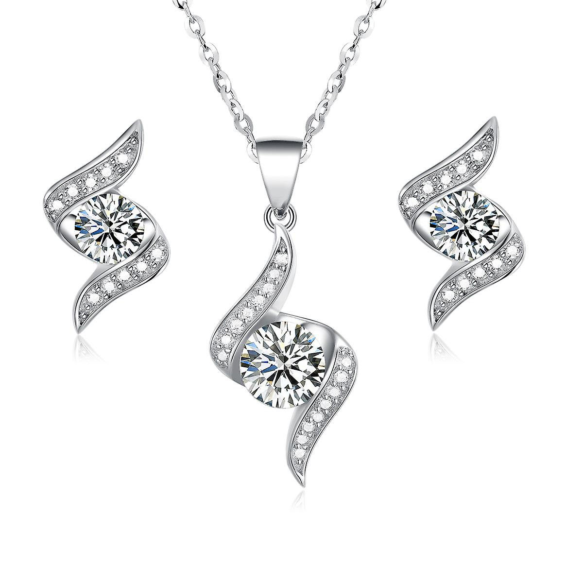 925 Sterling Silver Pave Flame Design Pure Elegance Jewellery Set