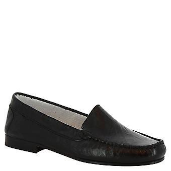 Leonardo sko kvinners håndlaget lav slip-on loafers i svart kalv skinn