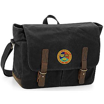 Kombinerade Cadet Force-licensierade brittiska armén broderade vaxad canvas Messenger Bag