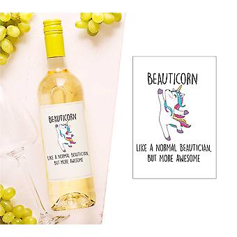 Beauticorn cosmetician unicorn sticla de vin Label